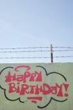 Część rysunku graffiti - ściana z wszystkiego najlepszego z okazji urodzin znakiem Zdjęcie Royalty Free