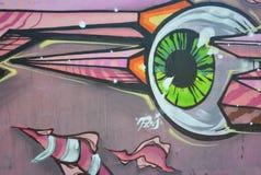 Część rysunku graffiti - kolorowa ściana z znakami Obrazy Royalty Free