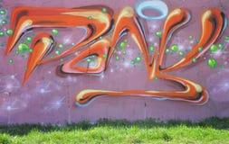 Część rysunku graffiti - kolorowa ściana z znakami Fotografia Stock