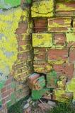 Część rysunku graffiti - kolorowy zniszczony ściana z cegieł Obrazy Stock