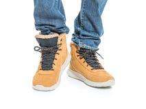 Część samiec nogi w zima butach Zdjęcie Stock