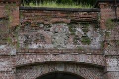 Część stary ściana z cegieł z trawy dorośnięciem na nim, Obraz Royalty Free