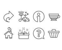 Części, Cappuccino i Próżniowego cleaner ikony, Znak zapytania, teraźniejszości pudełko i Sklepowi fura znaki, Fotografia Royalty Free