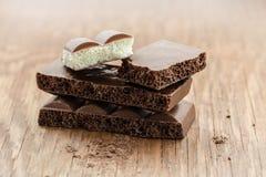 Części porowaty czekoladowy zakończenie Zdjęcie Stock