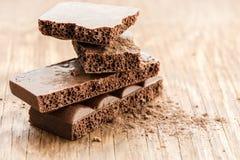 Części porowaty czekoladowy zakończenie Zdjęcia Royalty Free