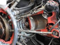 Części stary samolotu silnik Dokrętki łączy tubki, nozzles, butle, izolacja spalanie sala zdjęcie stock