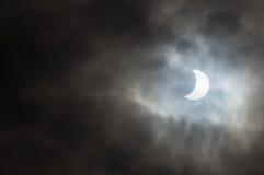 Częściowy Słoneczny zaćmienie North Yorkshire - UK - 20th 2015 Luty - Obraz Stock