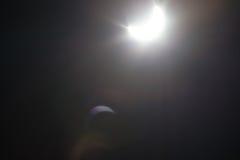 Częściowy Solare zaćmienie Nad Dallas Teksas Fotografia Royalty Free