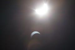 Częściowy Solare zaćmienie Nad Dallas Teksas Zdjęcie Royalty Free