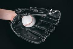 Częściowy widok ręka w rękawiczkowej mienie baseballa piłce Zdjęcie Royalty Free
