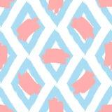 Częstotliwi rhombuses i plamy farba Rysujący ręką z szorstkim muśnięciem bezszwowy wzoru ilustracja wektor
