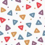 Częstotliwi trójboki i round kropki bezszwowy wzoru geometrycznego Rysujący ręką, nakreślenie, doodle ilustracji