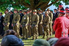 Członkowie Nowa Zelandia siły zbrojne w smokingowym mundurze obrazy royalty free