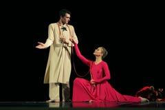 Członkowie Yevgeny Panfilov Baletniczy studio od Perm wykonują Romeo i Juliet podczas IFMC na Listopadzie 22, 2013 w Vitebsk, Był Obraz Stock