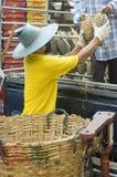 człowiek ananasów rozładunku Obrazy Royalty Free