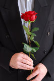 człowiek czerwona róża Obrazy Stock