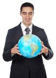 człowiek globe gospodarstwa zdjęcia stock