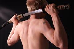 człowiek się samurajów miecz fotografia stock