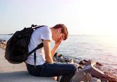 człowiek smutne young fotografia royalty free