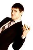 człowiek szkło koniak biznesowego zdjęcie sepiowy Obraz Royalty Free
