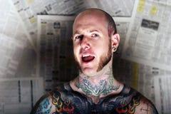 człowiek tatuaż zdjęcie stock