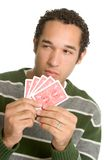 człowiek trzyma karty obraz royalty free