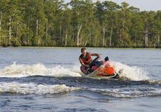człowiek uciekiniera kierują fala river Obraz Royalty Free