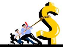 człowiek wiezie dolara w dół Zdjęcia Stock