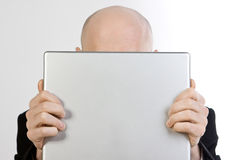 człowiek za laptopa Fotografia Royalty Free
