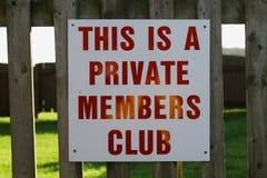 członek klubu s prywatnego Obraz Stock