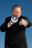 człowiek megafon Fotografia Royalty Free