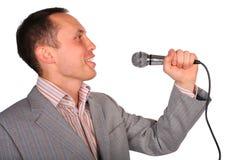 człowiek mikrofonu Zdjęcie Stock
