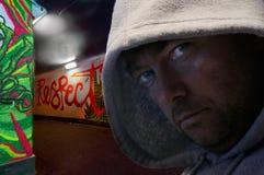 człowiek odznaczony graffiti hood metra Obraz Stock