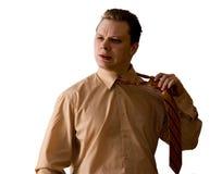 człowiek usuwa krawat Obrazy Royalty Free