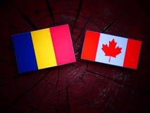 Czad flaga z kanadyjczyk flaga na drzewnym fiszorku odizolowywającym zdjęcia stock