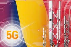 Czad 5G przemys?owa ilustracja, ogromny kom?rkowy sie? maszt lub wierza na techniki tle z flag?, - 3D ilustracja ilustracji