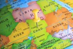 Czad przyczepiał na mapie Afryka Obrazy Stock