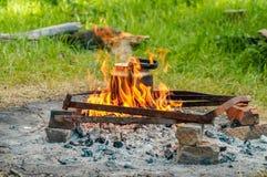 Czajnika garnka herbaciana wycieczka Lato camping Fotografia Royalty Free