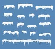 Czapy lodowa ustawiać Snowdrifts, sople, element zimy wystrój Obrazy Stock