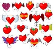 Czarcia kierowa wektorowa urocza czerwona sympatia z rogów skrzydłami na kochającej walentynki karty ilustracyjnym romantycznym s royalty ilustracja