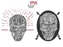 Czarciego czaszki literowania tatuażu projekta plakatowy use dla druku, plakatów, koszulek i tatuażu projekta, Zdjęcie Royalty Free