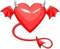 Czarciej miłości Rogaty serce Obraz Royalty Free
