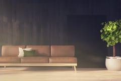 Czarna ściana, brown kanapa tonująca ilustracji