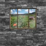 Czarna ściana z cegieł tekstura stonewall deseniowego projekt dla dekorujący Obraz Royalty Free