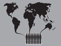 Czarna światowa mapa płynie w kanał Zdjęcia Royalty Free