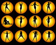 czarna żeńskiej ikony sylwetka złota Zdjęcia Royalty Free