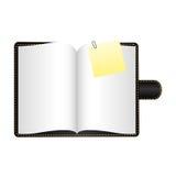 czarna agenda z dużą papier notatką ilustracji