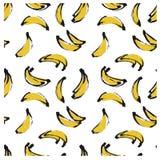 Czarna atramentu doodle ręka rysująca odizolowywał bananowego bezszwowego wzór na białym tle Obrazy Royalty Free