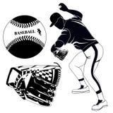 Czarna baseballa miotacza, rękawiczki i piłki wektoru ilustracja, ilustracja wektor