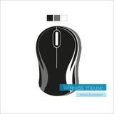 Czarna bezprzewodowa komputerowa mysz na białym tle Obraz Royalty Free